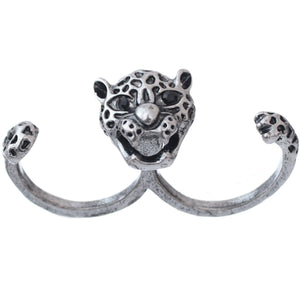 Silver Black Cheetah Face Double Cuff Finger Ring