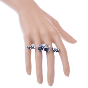 Silver Black Hoot Owl Double Cuff Finger Ring
