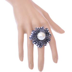 Silver Black Large Faux Pearl Floral Adjustable Ring