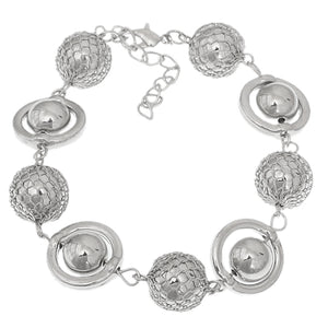 Silver Caged Beaded Ball Chain Bracelet