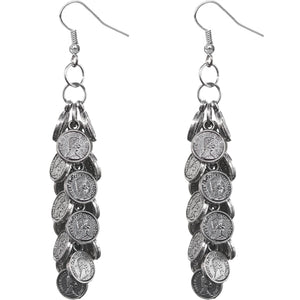 Silver Cascade Mini Coin Drop Earrings