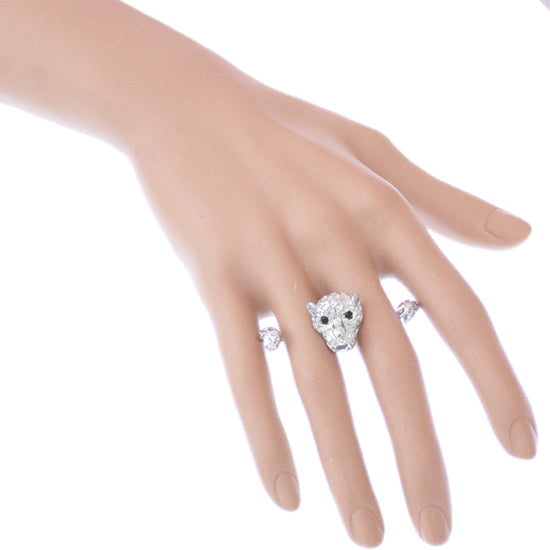 Silver Cheetah Face Double Cuff Finger Ring