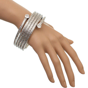 Silver Coil Wrap Around Bangle Bracelet