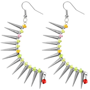 Silver Colorful Beaded Spike Earrings