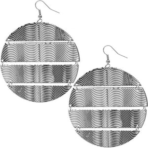 Silver Hammered Connect Metal Earrings
