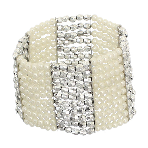 Silver Cream Beaded Stretch Bracelet