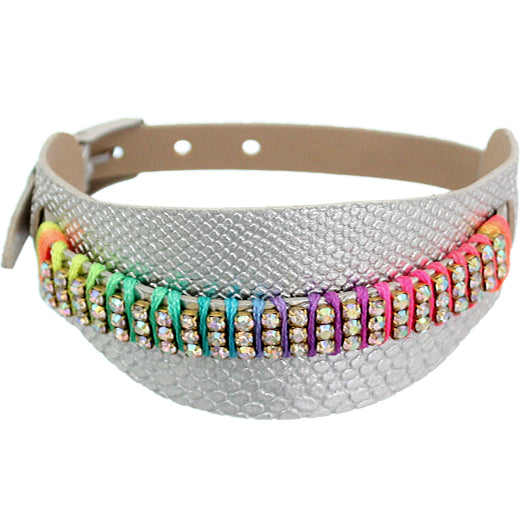 Silver Embossed Faux Leather Rhinestone Buckle Bracelet