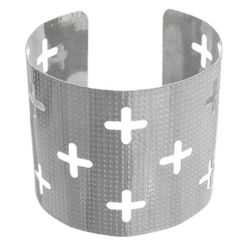 Silver Cutout Cross Metal Cuff Bracelet