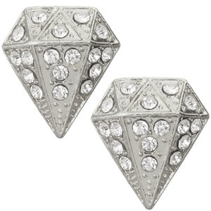 Silver Diamond Shaped Gemstone Post Earrings