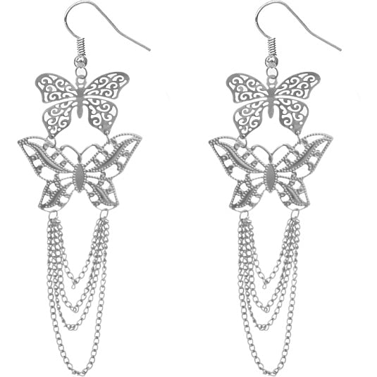 Silver Chain Butterfly Earrings