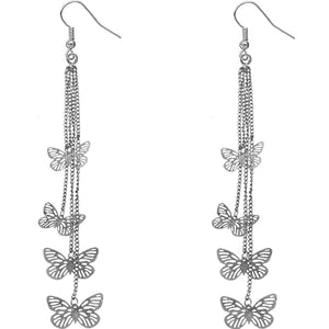 Silver Butterfly Drop Chain Earrings