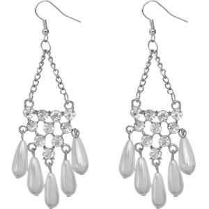 Silver Faux Pearl Gemstone Chain Earrings