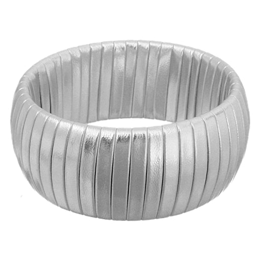 Silver Faux Leather Wrapped Bangle Bracelet