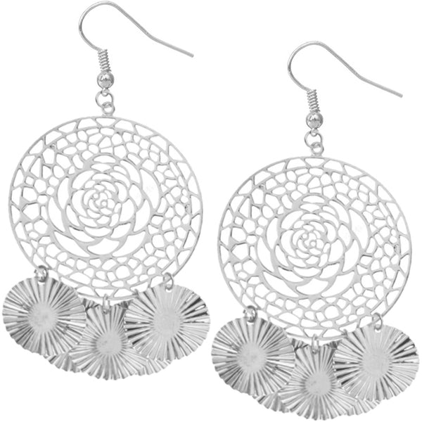 Silver Big Sunburst Earrings