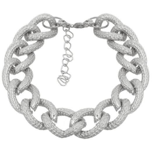 Silver Frost Textured Chain Link Bracelet