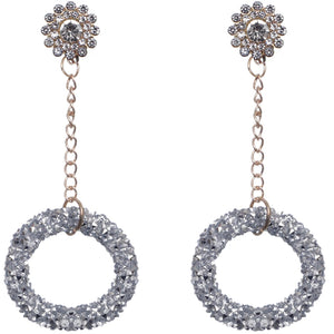 Silver Crystal Confetti Drop Chain Earrings