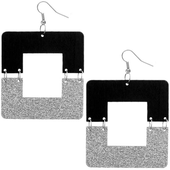 Silver Black Square Wooden Glitter Link Earrings