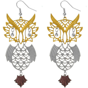 Silver Gold Two Tone Beaded Eyes Owl Earrings