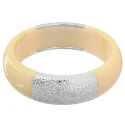 Cream Silver Frosted Resin Bangle Bracelet