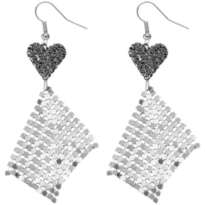 Gray Silver Heart Mesh Dangle Earrings
