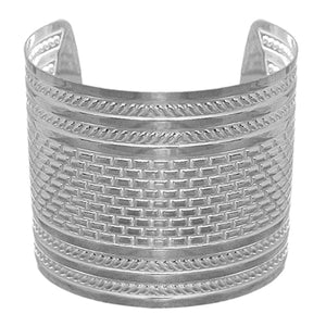 Silver Hammered Metal Cut Bracelet