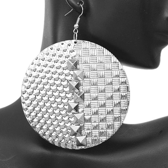 Silver Studded Cone Earrings