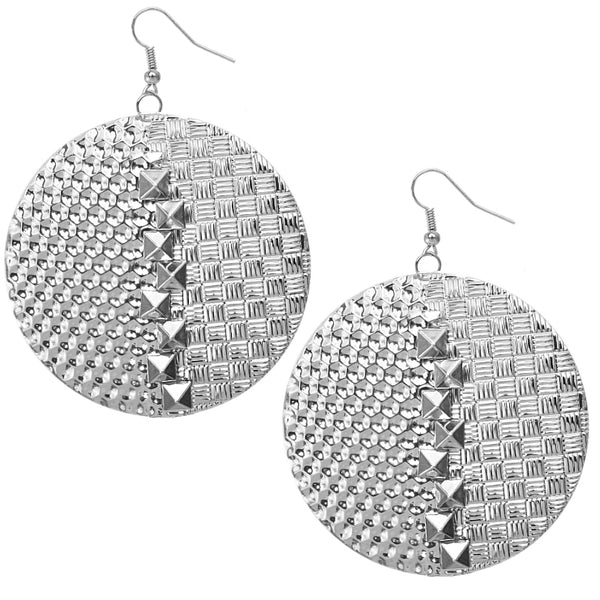 Silver Pyramid Hammered Earrings