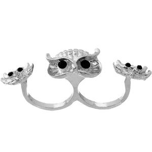 Silver Hoot Owl Double Cuff Finger Ring
