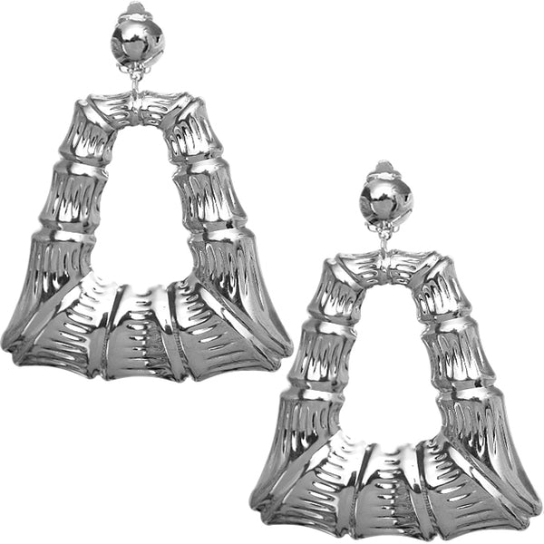 Silver Large Bamboo Clip-on Earrings