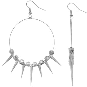 Silver 3D Cube Spike Hoop Earrings