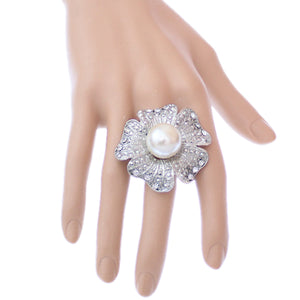 Silver Large Faux Pearl Floral Adjustable Ring