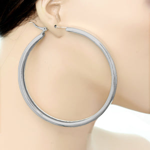 Silver Large Metal Hoop Earrings