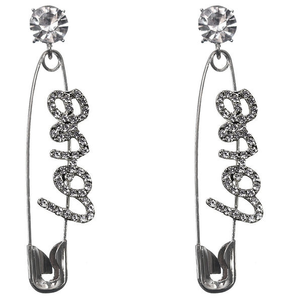 Silver Large Love Safety Pin Earrings