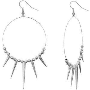 Silver Large Spike Beaded Hoop Earrings