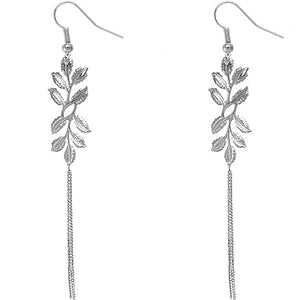 Silver Leaf Drop Chain Earrings
