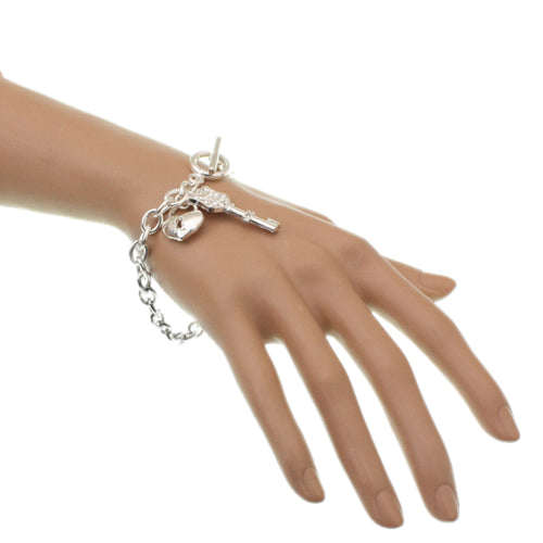 Silver Key Heart Locket Chain Link Bracelet