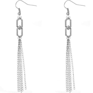 Silver Long Multi Chain Link Earrings