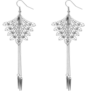 Silver Long Spike Chain Peacock Earrings