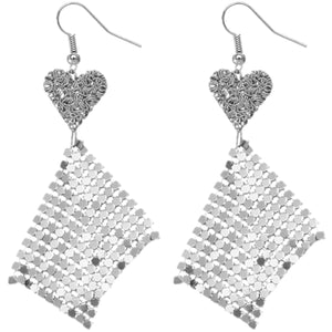 Silver Heart Mesh Dangle Earrings