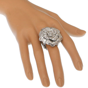 Silver Flower Metal Stretch Ring