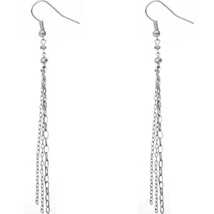 Silver Multi Drop Chain Earrings