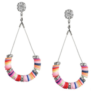 Silver Multicolor Beaded Teardrop Earrings