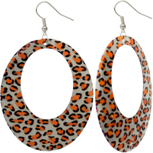 Silver Oval Cheetah Spotted Dangle Earrings