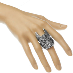 Silver Double Wing Cross Stretch Ring