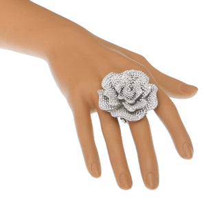 Silver Large Sparkle Flower Stretch Ring