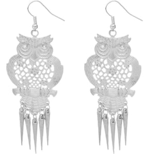 Silver Long Spike Hoot Owl Earrings