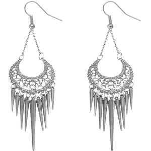 Silver Spiked Drop Chain Dangle Earrings