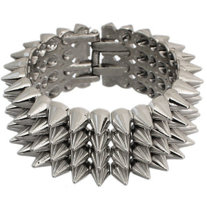 Silver Three Row Cone Spike Hinged Bracelet