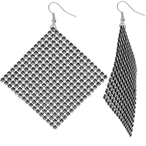 Silver Black Flat Rhinestone Mesh Earrings