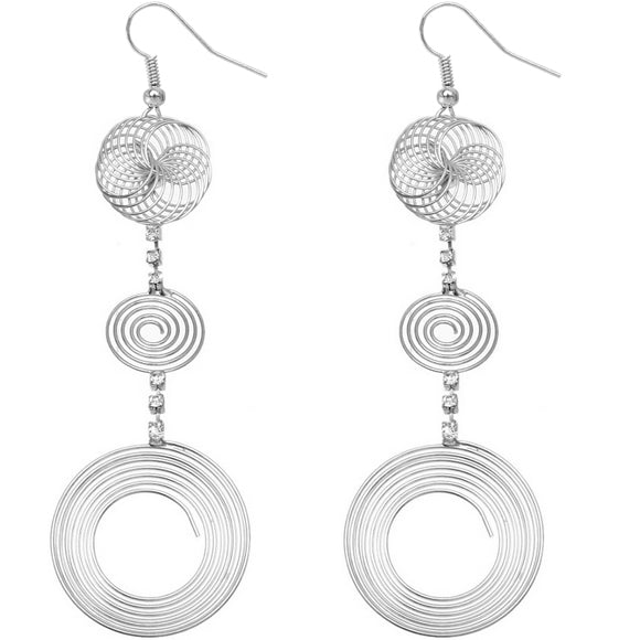 Silver drop Earrings Swirl